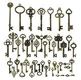 42pcs Mixed Vintage Skeleton Keys, Salome Idea 42 Styles Key for Alice in Wonderland Party, Each 1piece (Brone)