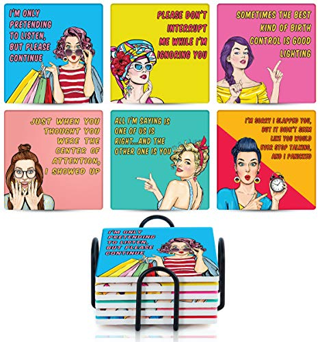Emerson Ceramic Coasters Set of 6 for Drinks Absorbent with Holder, Funny Quotes Sayings for Women,...