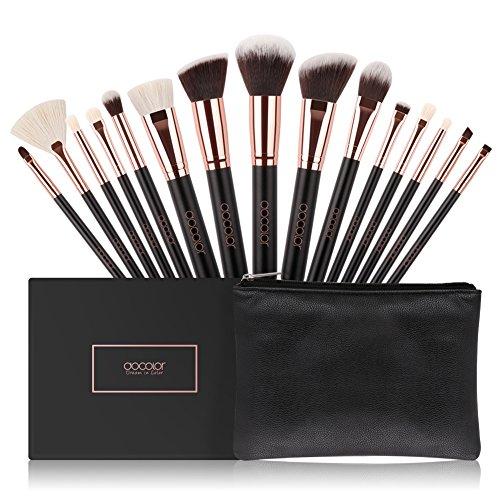 Kit de Brochas Maquillaje 15 Piezas Docolor Cerdas de Fibra Sintética Suave con bolsa de cosméticos de oro rosa