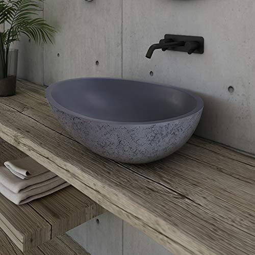 Design Aufsatzwaschbecken VELA aus Mineralguss - Beton-Optik matt - 60,5 x 43,5 x 16 cm, Ablaufgarnitur/Pop-up:Ohne Ablaufgarnitur