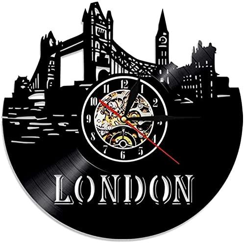 Reloj de pared con disco de vinilo de Londres, retro, London City CD, montaje en pared, Mute Big Ben moderno regalo de decoración para el hogar