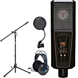 Lewitt LCT 940 Premium Large-Diaphragm FET Condenser and Tube Microphone + Pop Filter + Euro Boom Mic Stand + Samson Professional Studio Reference Headphones