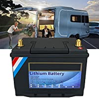 12VディープサイクルLiFePO4バッテリー40Ah-320Ahリチウム鉄リン酸塩充電式マリン/ RVリチウムイオンバッテリーキャンプ用BMS内蔵、ソーラー/バックアップ電源、トローリング、ツールトレーラー,黒,12V 80AH