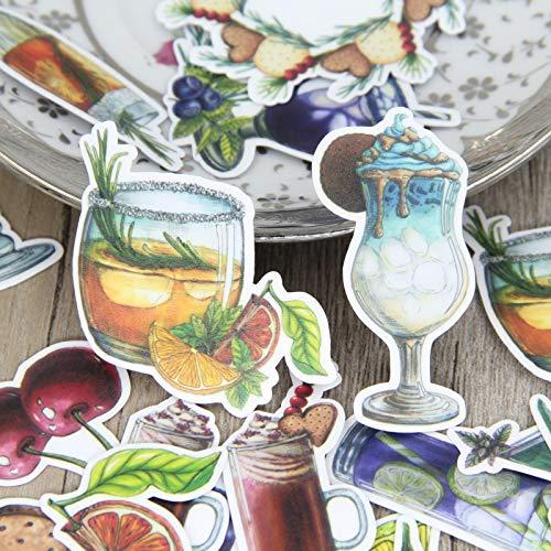 DONGJI Paquete de Pegatinas caseras de Bebida congelada de Verano Pintada a Mano de Acuarela, Etiqueta de decoración de álbum de Manual de Diario de Galletas de Bebidas 32 Piezas