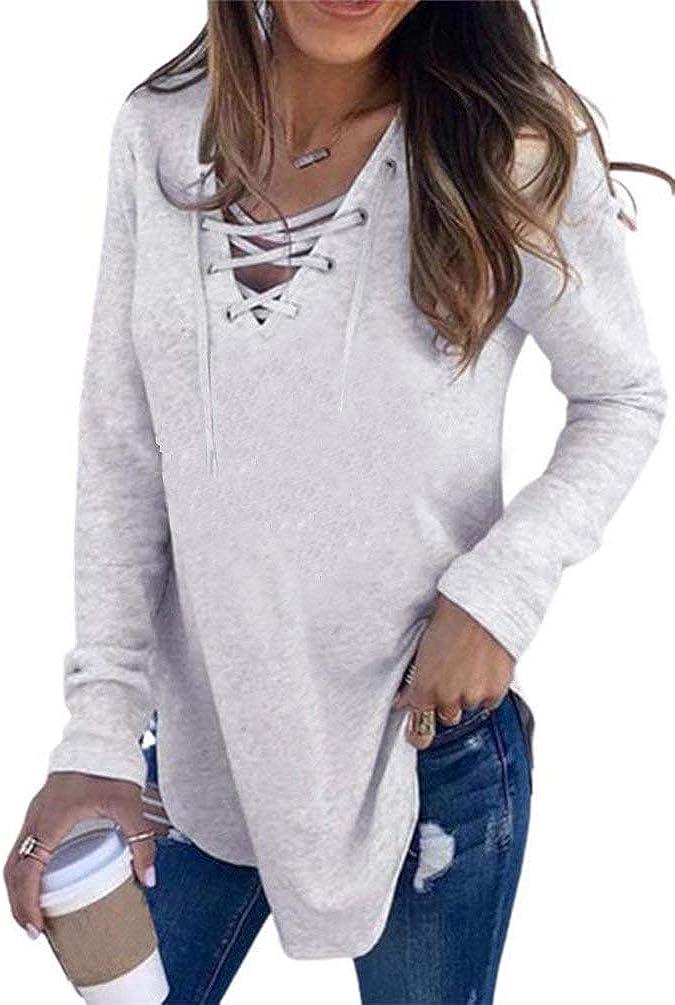 AmySister Women's Fashion Comfy Pullover Criss Cross Tunic Sweatshirt