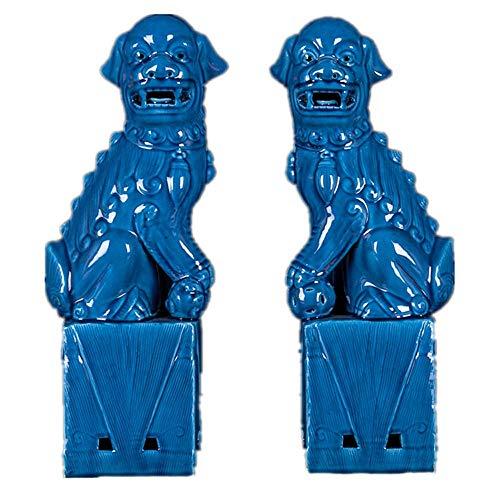 Par de Leones de Beijing Estatuas de Perros Fu Foo (Un par), Decoración de Feng Shui Chino de cerámica Azul Accesorios de Prosperidad, Escultura de hogar y Oficina
