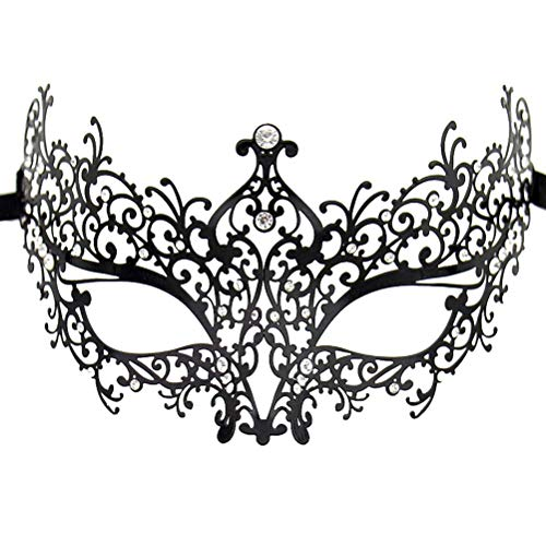 Masquerade Mask for Women Shiny Rhinestone Venetian Party Prom Ball Metal Mask