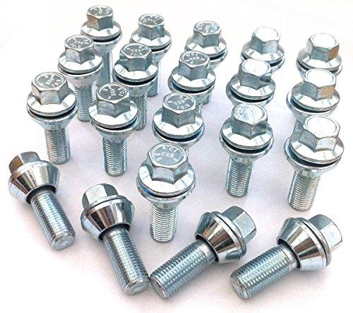 Tornillos de aleación para llantas de PCD variable, chapado en zinc M12 x 1,25 (M12 x 1,25), asiento cónico, hexagonal de 17 mm, longitud de rosca de 29 mm. Juego de 20 tornillos (#2)