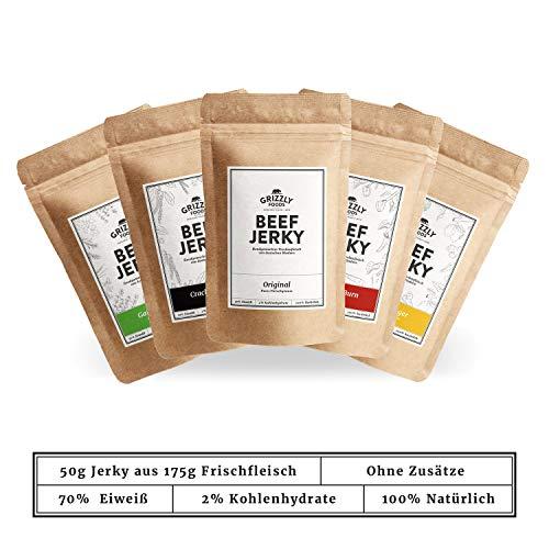Beef Jerky | >70% Eiweiß | Trockenfleisch | Set: 5 x 50g = 250g | Alle 5 Sorten | Aus Deutschland