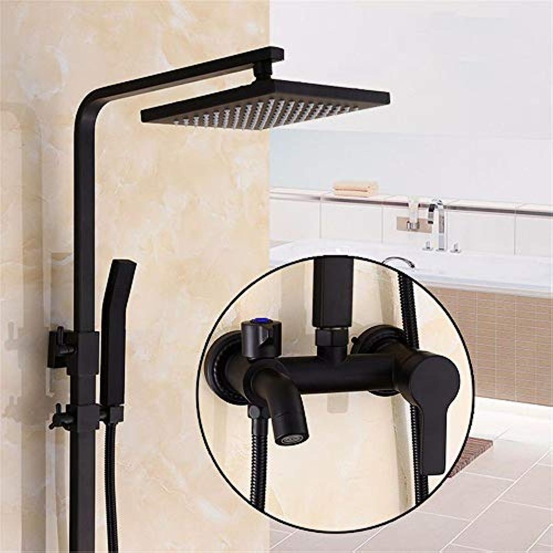 Europische schwarze Quadrat dusche Wasserhahn aufgeladenen Badezimmer voll Kupfer eingerichtet Dusche, C