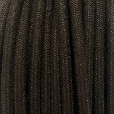 Fil électrique tissu lin marron - câble textile rond 2 fils 2x0.75mm2
