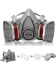 Adembeschermingsmasker NASUM bescherming halfmasker voor verfspatten, stof, bescherming van geurvermindering voor sproei-, sanering, lak- en slijpwerkzaamheden grijs