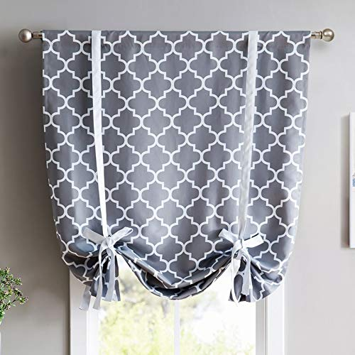 HLC.ME Lattice Print Thermal Room Darkening Blackout Tie Up Balloon Shade Curtain for Small Windows - Grey - 46
