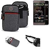 K-S-Trade® Gürtel-Tasche Für Allview P9 Energy Lite (2017) Handy-Tasche Holster Schutz-hülle Grau Zusatzfächer 1x
