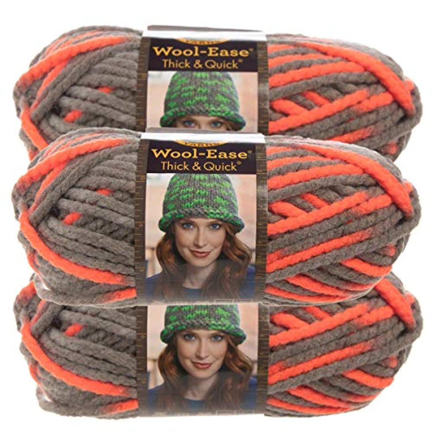 Lion Brand Yarn (3 Pack Wool Ease Super Chunky Yarn for Knitting Crocheting Soft Monarch Orange Gray Yarn Bulky #6