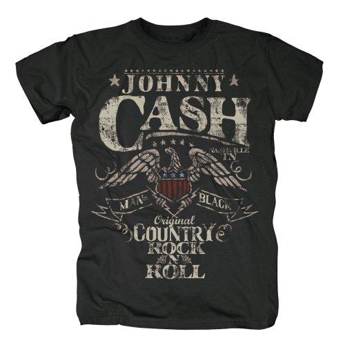 Johnny Cash Herren Band T-Shirt - Rock n Roll, Schwarz, XL