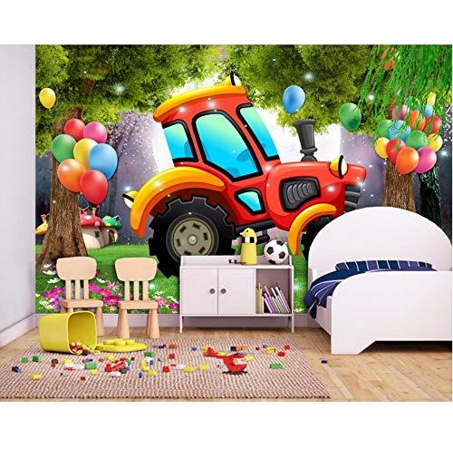 3D fotobehang wallpaper cartoon vrachtwagen boom ballon voor kinderen huis decoratie 3D behang voor woonkamer 300x210cm