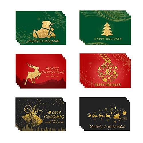 Anyingkai 24pcs Tarjetas de Navidad,Tarjetas Navidad Pack,Postales Navidad,Tarjetas de Navidad con Sobres,Pegatinas Navideñas,Tarjetas Navidad Pequeñas (Navidad dorada)