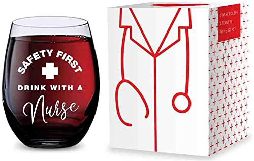 high quality Stemless online Wine Glass for lowest Nurses (Safety First Drink With A Nurse) Made of Unbreakable Tritan Plastic - 16 ounces online sale
