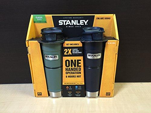STANLEY(スタンレー) ワンハンド 真空ステンレスマグ 473ml 2本セット グリーン/ネイビー [並行輸入品]