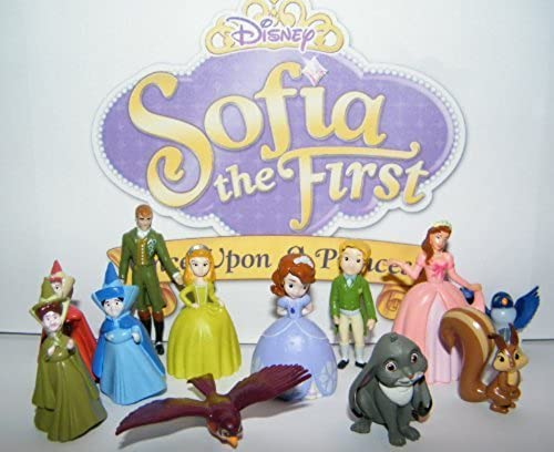 Disney Princess Sophia the First Deluxe Mini Figure Set Toy Playset of 12 with Sophia, Princess Amber, King Roland, Queen Miranda, 4 Animal Friends, the 3 Fairies and More  by Sophia the first