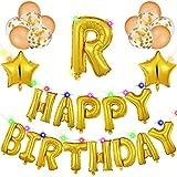 27 Piezas Pancarta de Globos de Happy Birthday con Guirnalda de Luces LED Globos Dorados Globos de Confeti Dorados para Fiesta de Cumpleaños Brillantes