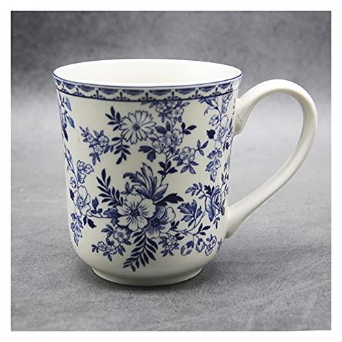 JSJJAHN Plato de cena The Blue and White Plhes Elegant England Style Dinner Ware Plato de desayuno de cerámica para carne de vacuno, postre y postre (taza de 300 ml)