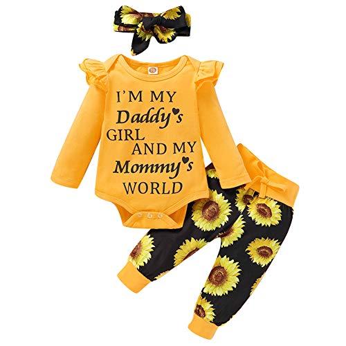 Geagodelia Babykleidung Set Baby Mädchen Kleidung Outfit Langarm Body Strampler + Hose + Stirnband/Mütze Neugeborene Weiche Babyset T-19829 (Daddy's Girl - Gelb & Schwarz, 6-12 Monate)