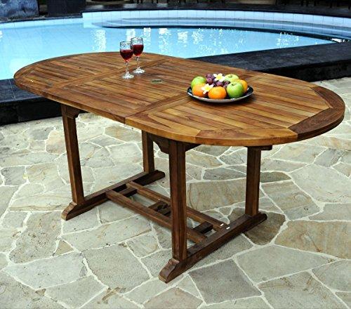Table Ovale de Jardin en Teck huilé avec rallonge Papillon : 120-180 x 90 cm