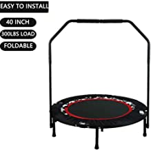 Portable & Foldable Fitness Workout Mini Rebounder Trampoline 40 Inch Max Load 300lbs with Adjustable Handrail for Indoor Garden Workout Cardio Exercise