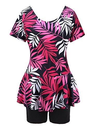 Knaspor One Piece Swim Dress Modest Swimsuit for Women Floral Leaf Print Short Sleeve Swimwear Rose Red