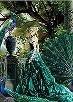 DIY 数字 油絵 塗り絵 キット 大人 子ども 塗り絵 孔雀の美女 デジタル油絵 手塗り 数字キットによる絵画 絵かき インテリア 壁飾り ホームデコレーション 40x50cm(額縁なし)