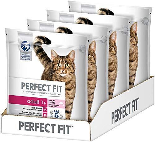 Perfect Fit Adult 1+ – Trockenfutter für erwachsene Katzen ab 1 Jahr – Reich an Lachs – Unterstützt die Vitalität – 4 x 1.4 kg