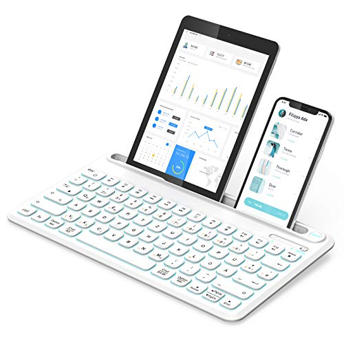 Jelly Comb Bluetooth Beleuchtete Tastatur, kabellose QWERTZ Funktastatur mit 3 Kanälen für PC/Laptop/Tablets/Handys, Windows/Android/iOS/Mac OS, Weiß