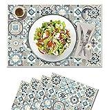Vilber, juego de 4 manteles individuales Vinilo (30,5x45,6x0,22 cm), Antimanchas, Antideslizantes y resistentes al calor. Combinables con caminos de mesa y alfombras. KOLLAR 03