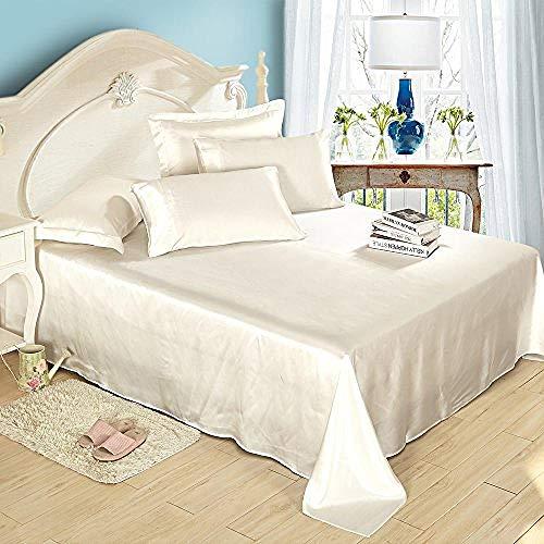 zlzty Silk Fitted Sheet Deep Flat Sheet Pillowcase Bedding Sheets Set,Single Duvet Cover,Single Bedding Set,King Size Duvet Cover@Ivory_SuperKing