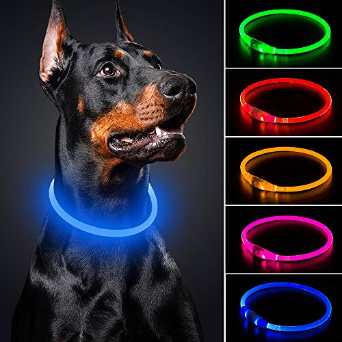 BSEEN LED Dog Collar - Cuttable Water Resistant Glowing Dog Collar Light Up, USB Rechargeable Pet Necklace Loop for Small, Medium, Large Dogs (Royal Blue)