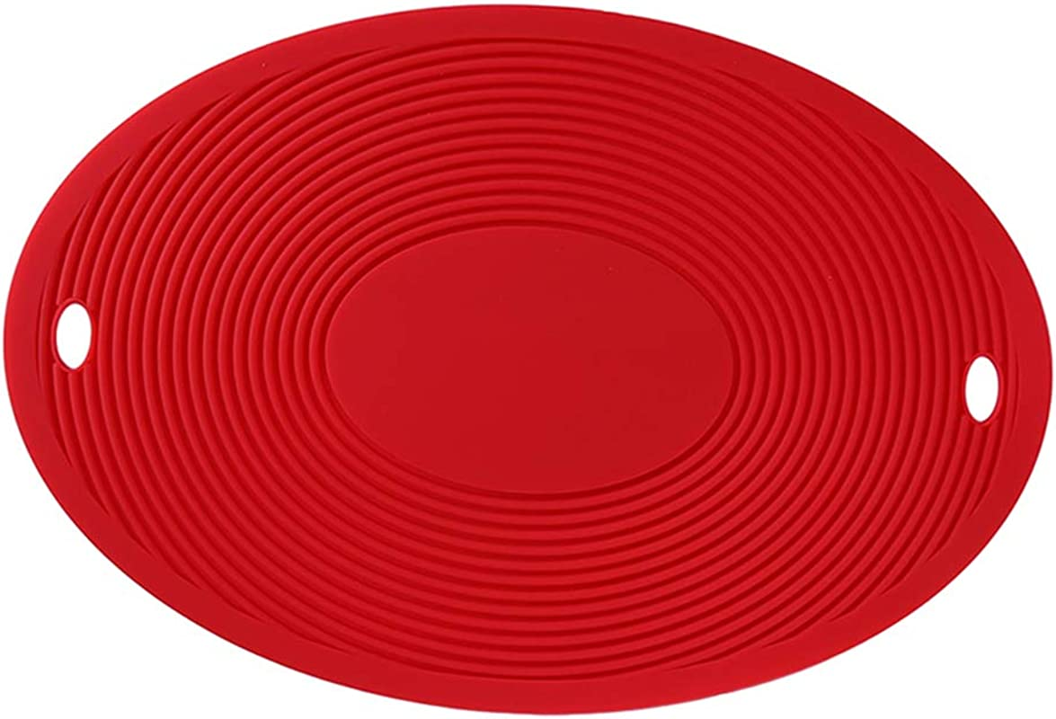 Lehao397 Oval Shape Silicone Placemats Non Slip Heat Resistant Cup Bowl Pad Thicken Table Mat For Home Outdoor Red
