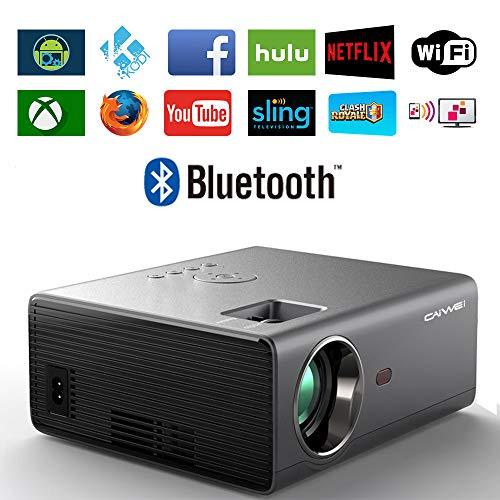 Portable WiFi Projector with Bluetooth, 3600 Lux 1080P Full HD Supported LED Outdoor Movie Airplay Wireless Projector with Smart Phone, TV Stick, PS4, HDMI, USB, VGA for Home Cinema Video Games