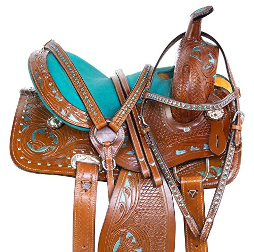 Acerugs Youth Children Crystal Leather Hand Carved Western Pleasure Trail Show Rodeo Kids Pony Horse Saddle TACK Package Bridle Breastplate Size 10 12 13 14 (Teal Inlay, 12)