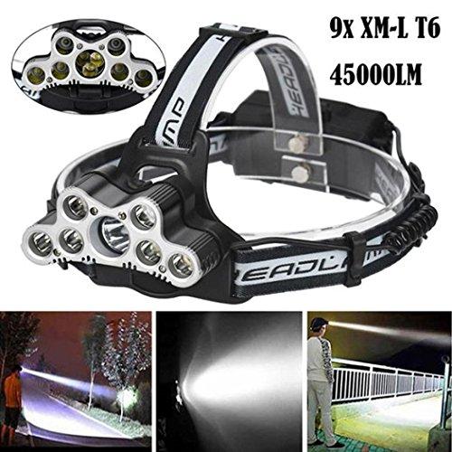 Lampes Frontales,45000 LM 9X XM-L T6 Lampe Frontale LED Puissante Rechargeable 6 Modes, Base réglable + Conception imperméable Lampe Torche de Voyage Phare Lampe Torche (A)