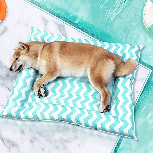 DZL- Alfombrilla de Refrigeración Animales Nevera y Manta para Perro Fresco Cojín Azul Alfombra Refrescante Camas de Suelo (76 * 91CM-Color Entre Azar)