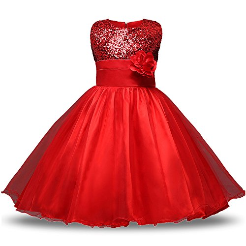 KINDOYO Falda para Bebés Niñas sin Mangas Lentejuelas Vestido de Tul para Fiesta Boda Falda Princesa,…