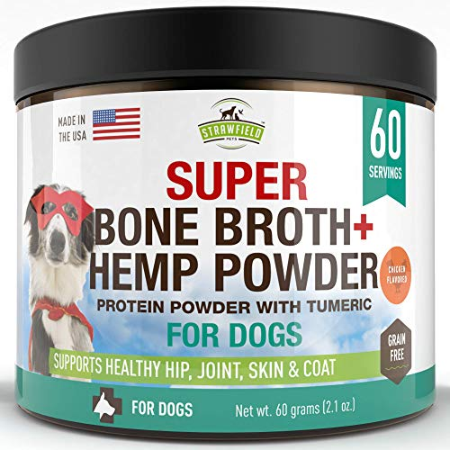 Strawfield Powdered Bone Broth for Dogs - 60 Servings  Chicken - Dog Food Topper w/Organic Turmeric  Hemp Protein Powder  Pumpkin  Glucosamine Chondroitin for Joint Support Arthritis Pain Relief  USA