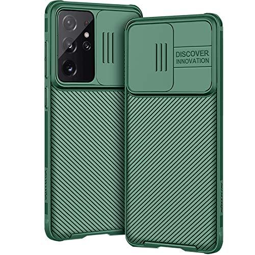 AROYI Hülle Kompatibel mit Samsung Galaxy S21 Ultra 5G, Kameraschutz mit Slide Camera Cover - Grün
