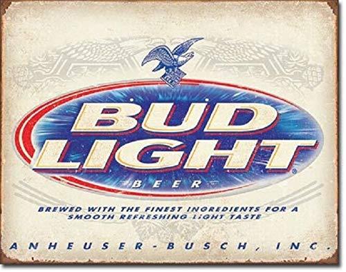 SRongmao Bud Light Retro Anheuser Busch Budweiser Advertising Wall Decor Metal Tin Sign 8x12in