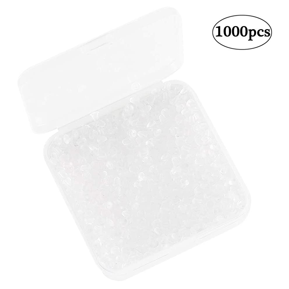 SAMJANE 1000 Pieces Earring Backs Clear Rubber Earring Safety Backs Bullet Clutch Stopper Replacement for Fish Hook Earrings