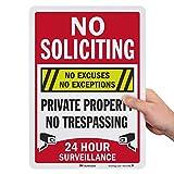 "SmartSign ""No Soliciting No Excuses - Private Property, No Trespassing, 24 Hour Surveillance"" Sign | 10' x 14' 3M Engineer Grade Reflective Aluminum"