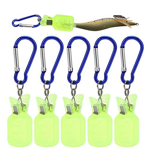 Dilwe 5 Piezas/Set Protector de plástico de Cubierta de Plantilla de Calamar con Tapas de Cubierta de Gancho de camarón de Pesca(Amarillo Fluorescente)