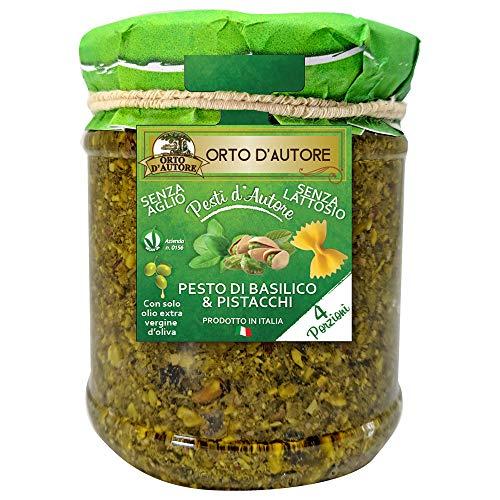 ORTO D'AUTORE Natürliches Grün Pesto von Basilikum und Pistazien 3 X 180 gr, Pesto im Glas, Basilikumpesto und Pistazienpesto 100% Made in Italy, Knoblauch Pesto und Laktosefreies Pesto